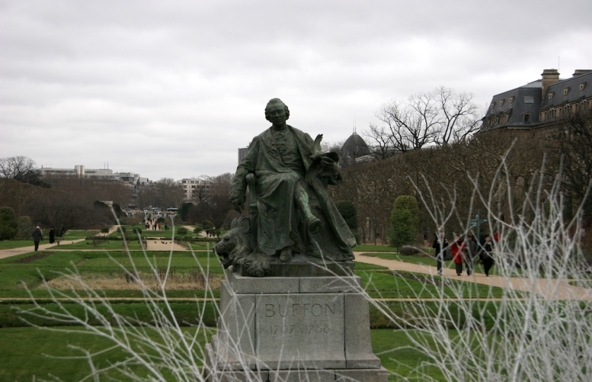 A statue of French naturalist Georges-Louis Leclerc, Comte de Buffon, in the Jardin des Plantes