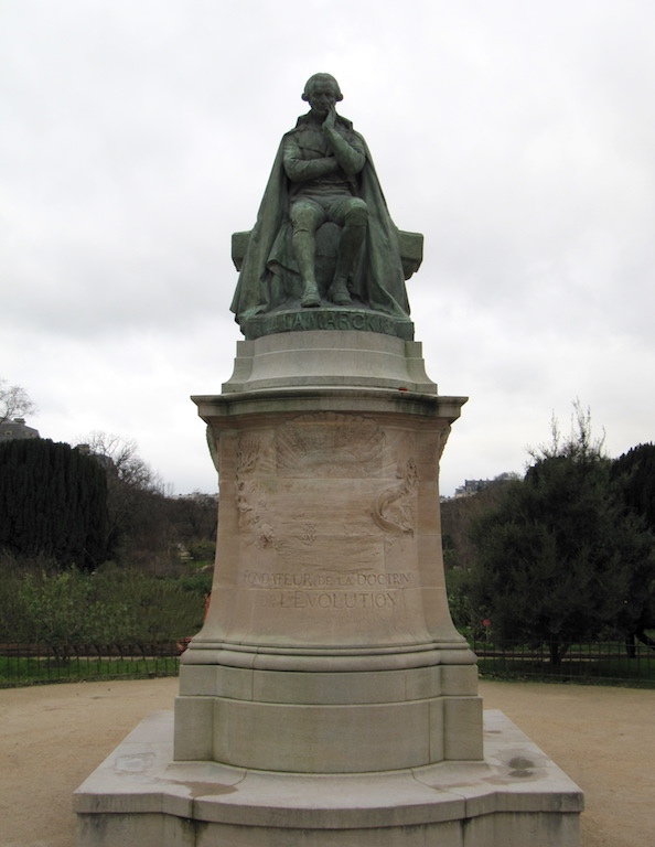 A statue of Jean-Baptiste Lamarck at the entrance to the Jardin des Plantes