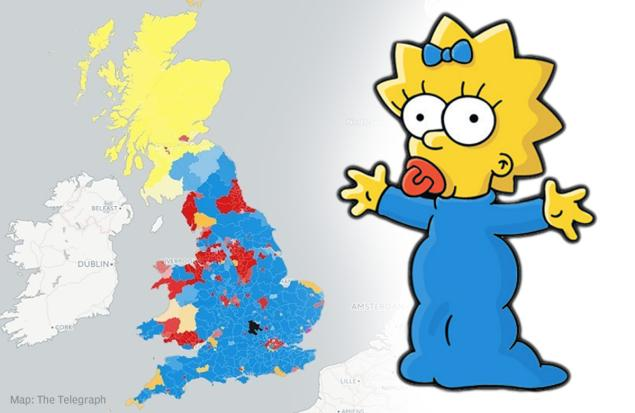 Maggie Simpson and the exit poll map of the UK (real result had a bit more Plaid Cymru)